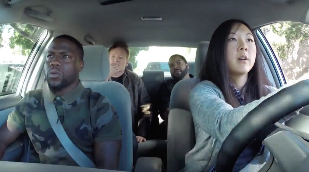 hotbox car1 - Ice Cube, Kevin Hart And Conan Help Student Driver, hit a marijuana dispensary and hot box the car