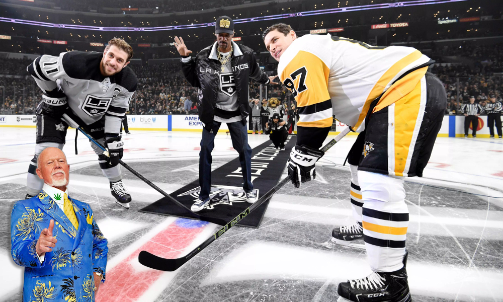 snoop dogg does hockey featured - Dogg Cherry? Snoop Dogg drops puck at Kings-Penguins game and hits broadcast booth