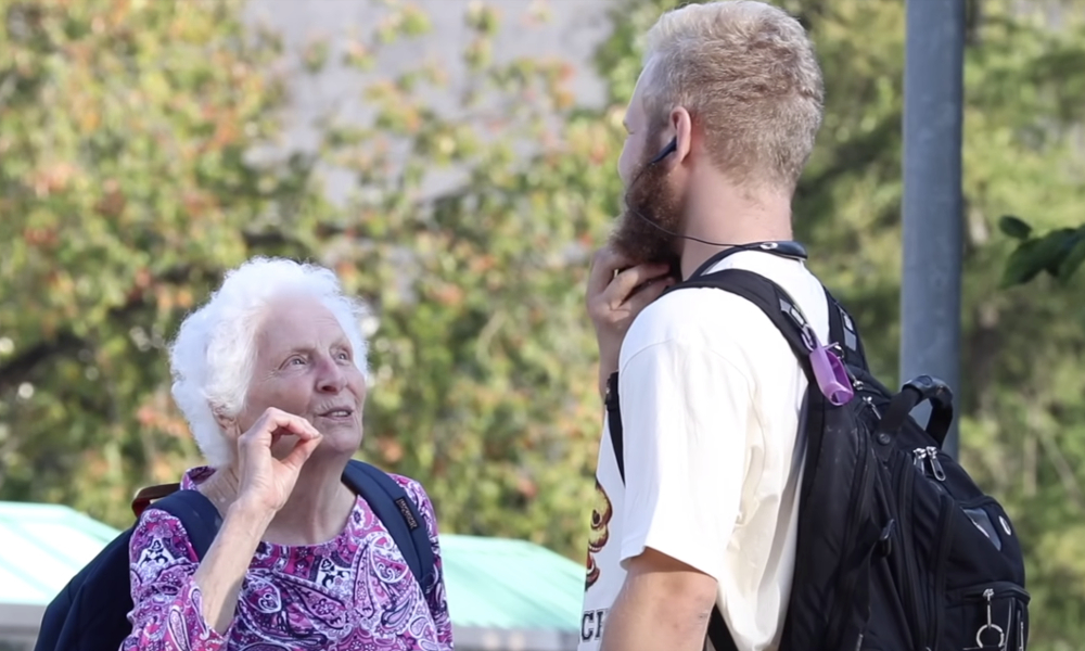 granny campus featured - What happens when grandma tries to score some weed (and dudes) on campus?