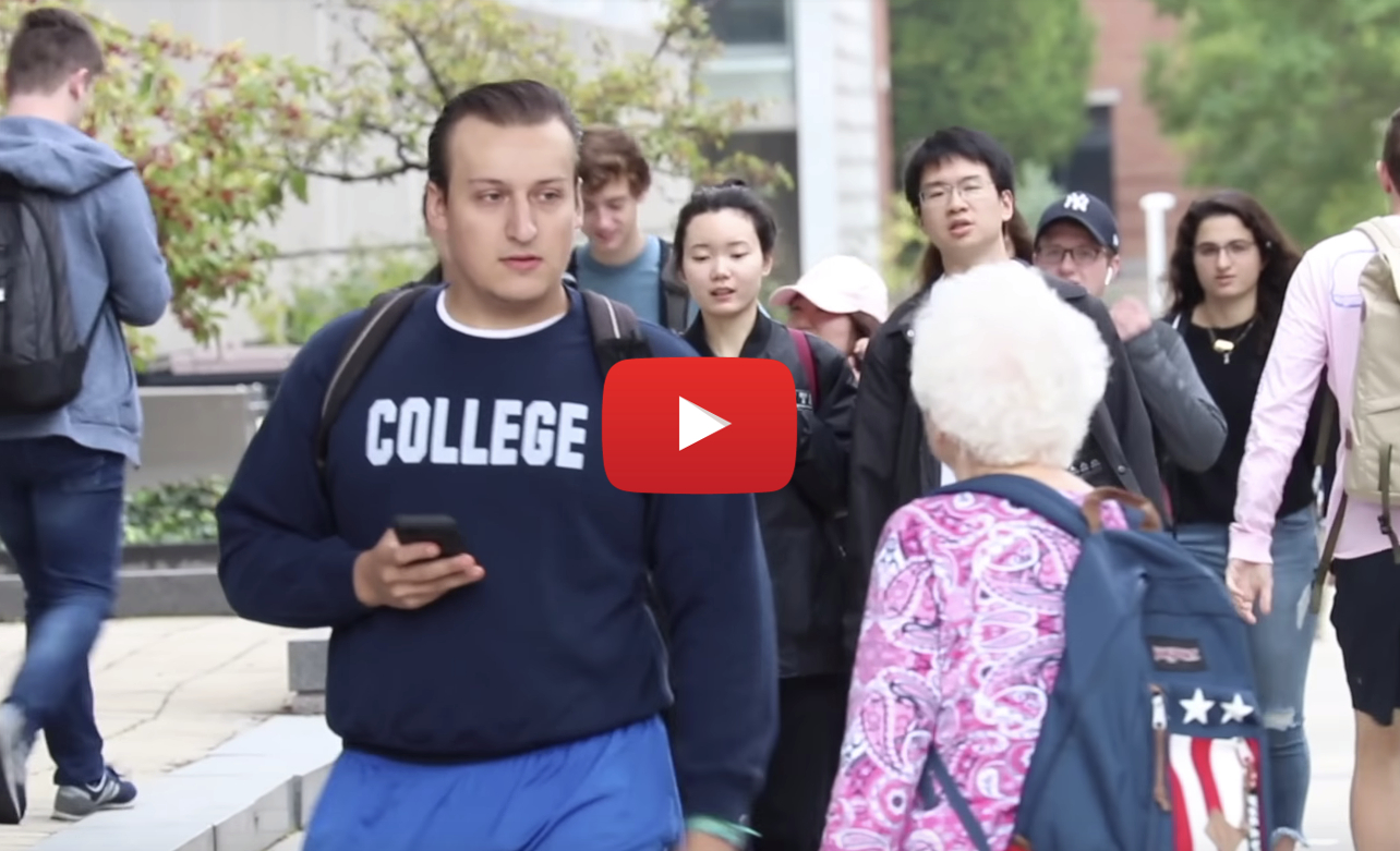 granny campus video - What happens when grandma tries to score some weed (and dudes) on campus?